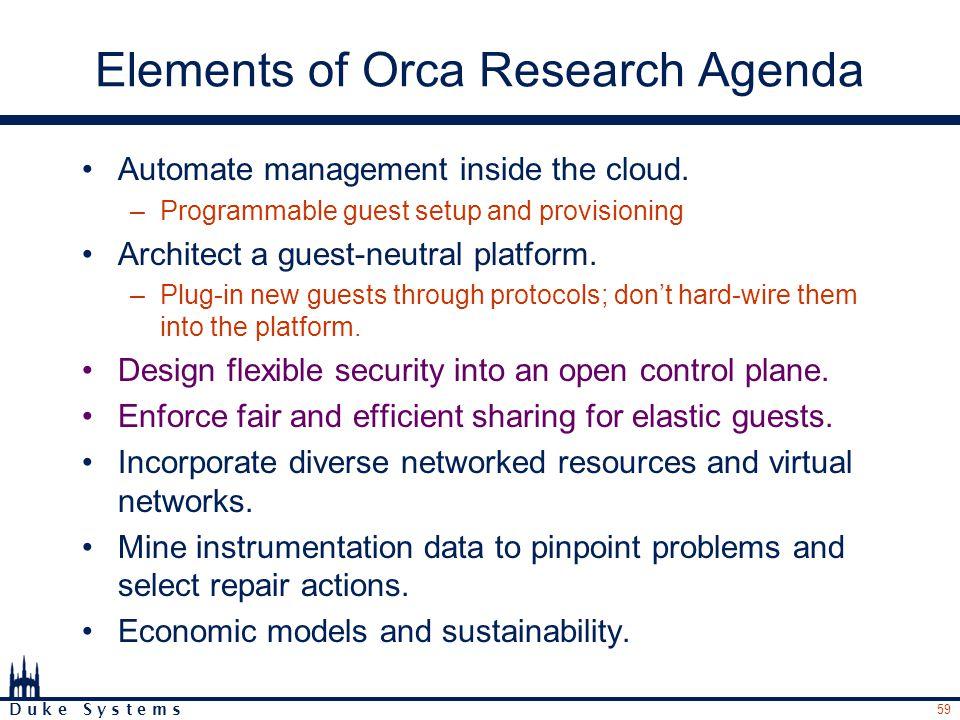 59 D u k e S y s t e m s Elements of Orca Research Agenda Automate management inside the cloud.