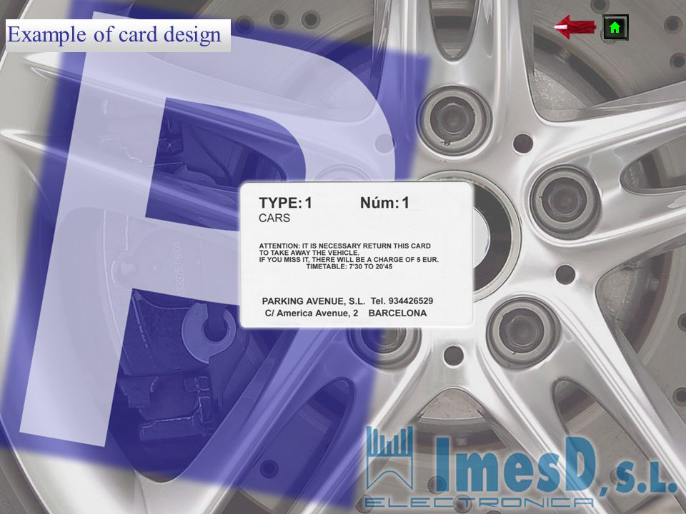 Example of card design