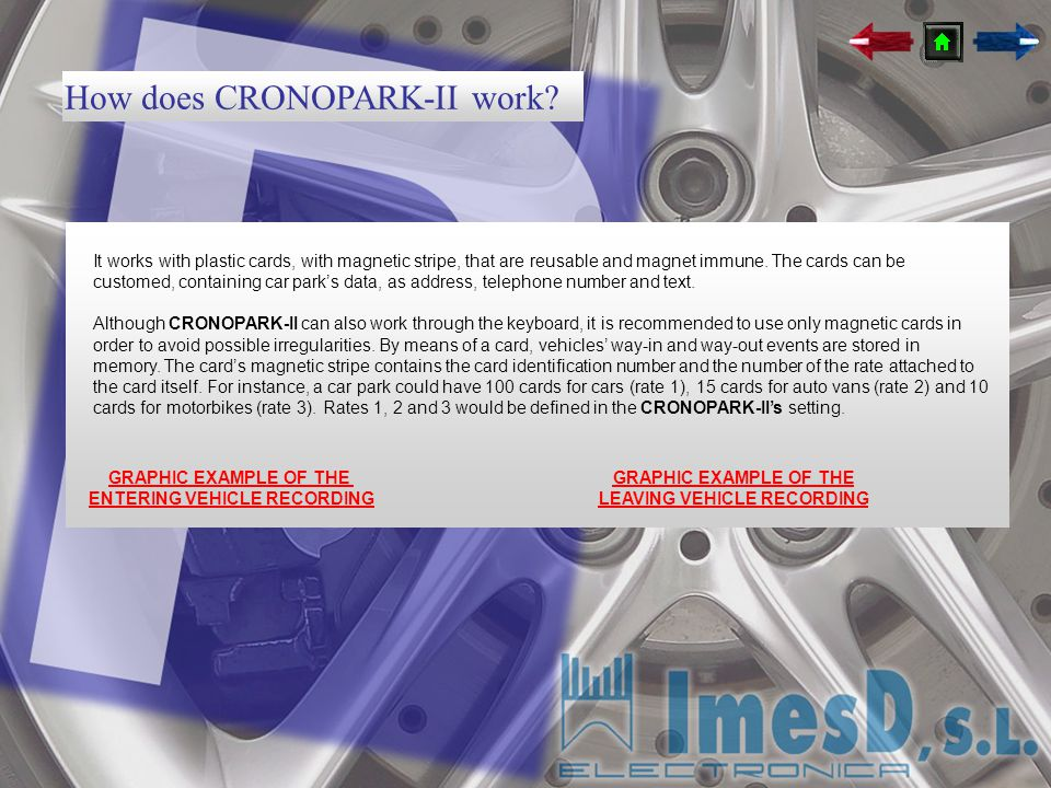 How does CRONOPARK-II work? It works with plastic cards, with magnetic stripe, that are reusable and magnet immune. The cards can be customed, contain