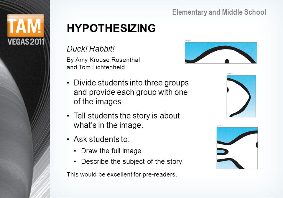 Elementary and Middle School HYPOTHESIZING Duck. Rabbit.