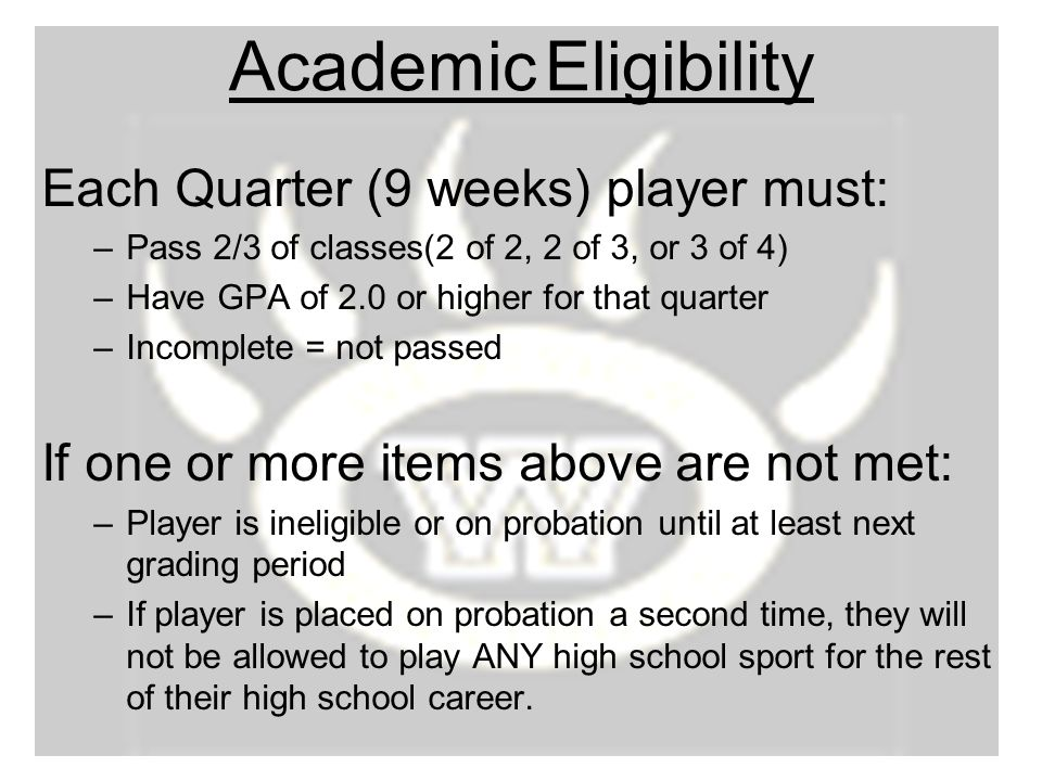 Academic Eligibility Each Quarter (9 weeks) player must: –Pass 2/3 of classes(2 of 2, 2 of 3, or 3 of 4) –Have GPA of 2.0 or higher for that quarter –Incomplete = not passed If one or more items above are not met: –Player is ineligible or on probation until at least next grading period –If player is placed on probation a second time, they will not be allowed to play ANY high school sport for the rest of their high school career.
