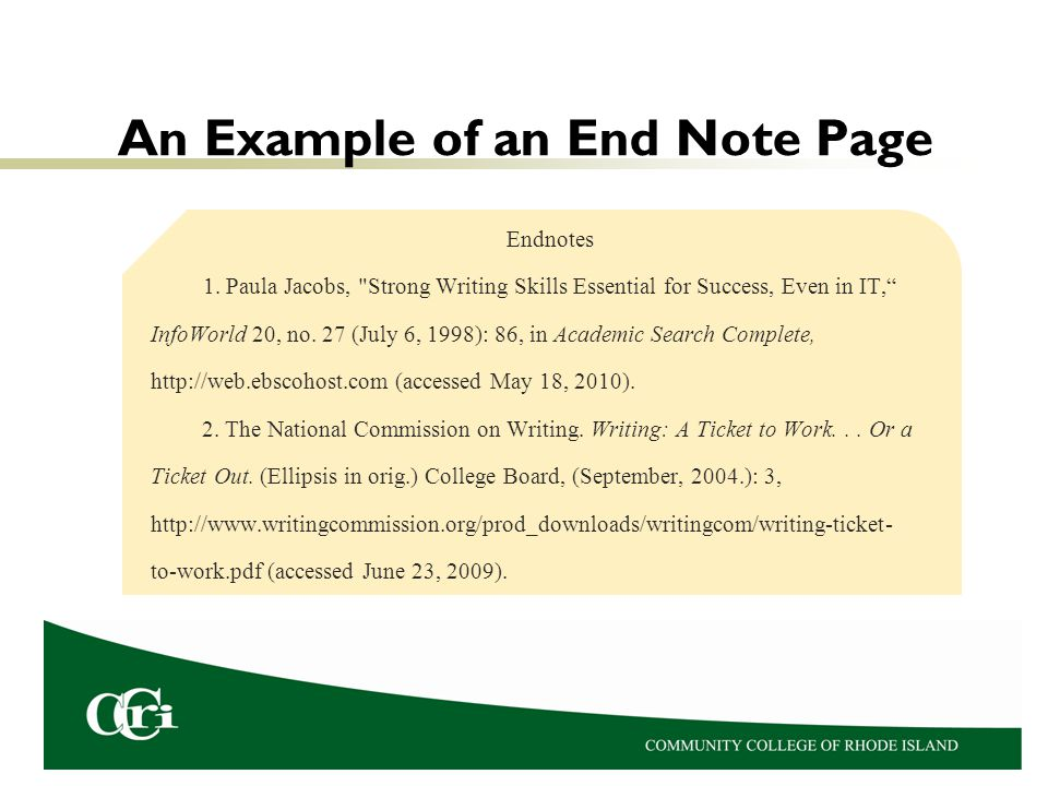 An Example of an End Note Page Endnotes 1. Paula Jacobs,