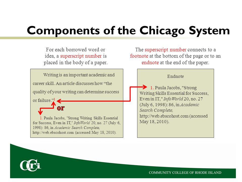 Components of the Chicago System For each borrowed word or idea, a superscript number is placed in the body of a paper. The superscript number connect
