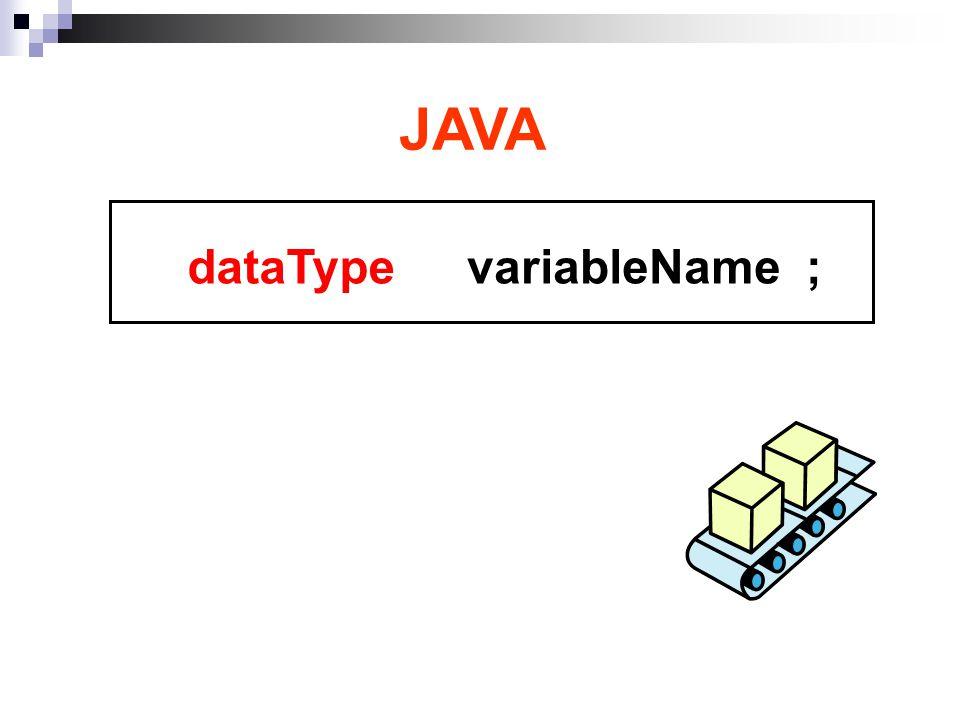 variableName ;dataType JAVA