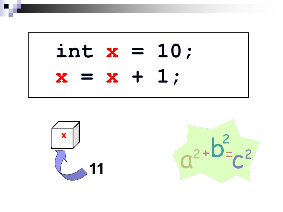 int x = 10; x = x + 1; x 11