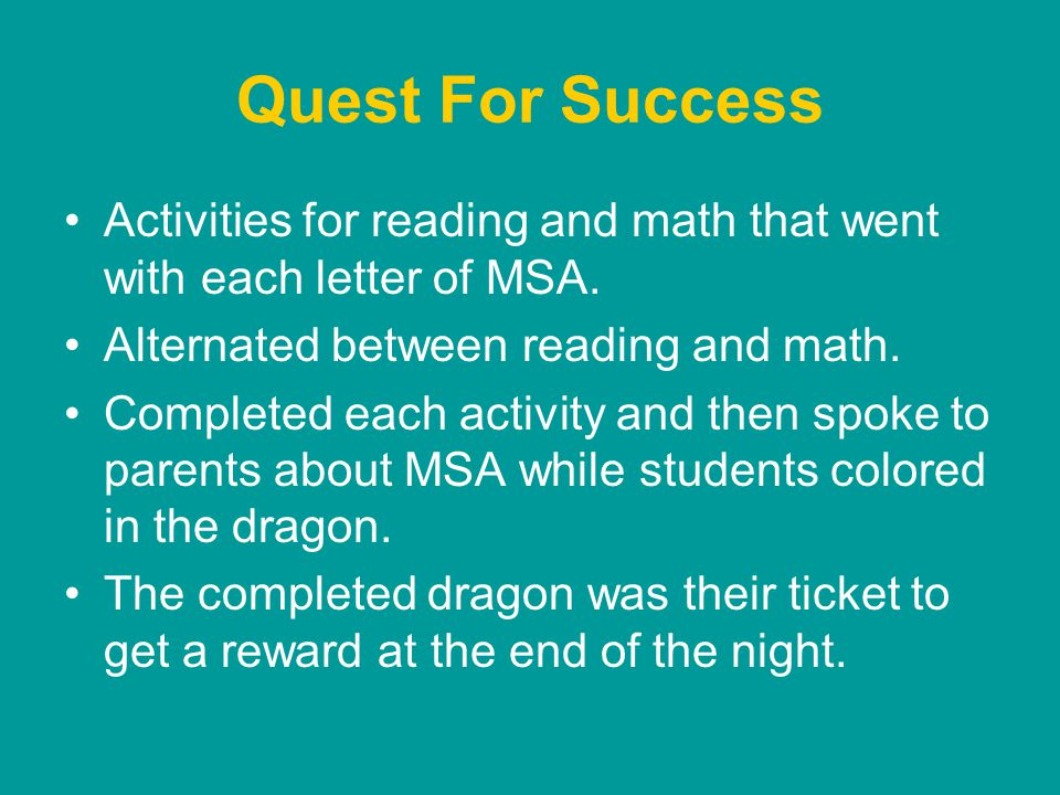 Quest For Success Activities for reading and math that went with each letter of MSA.