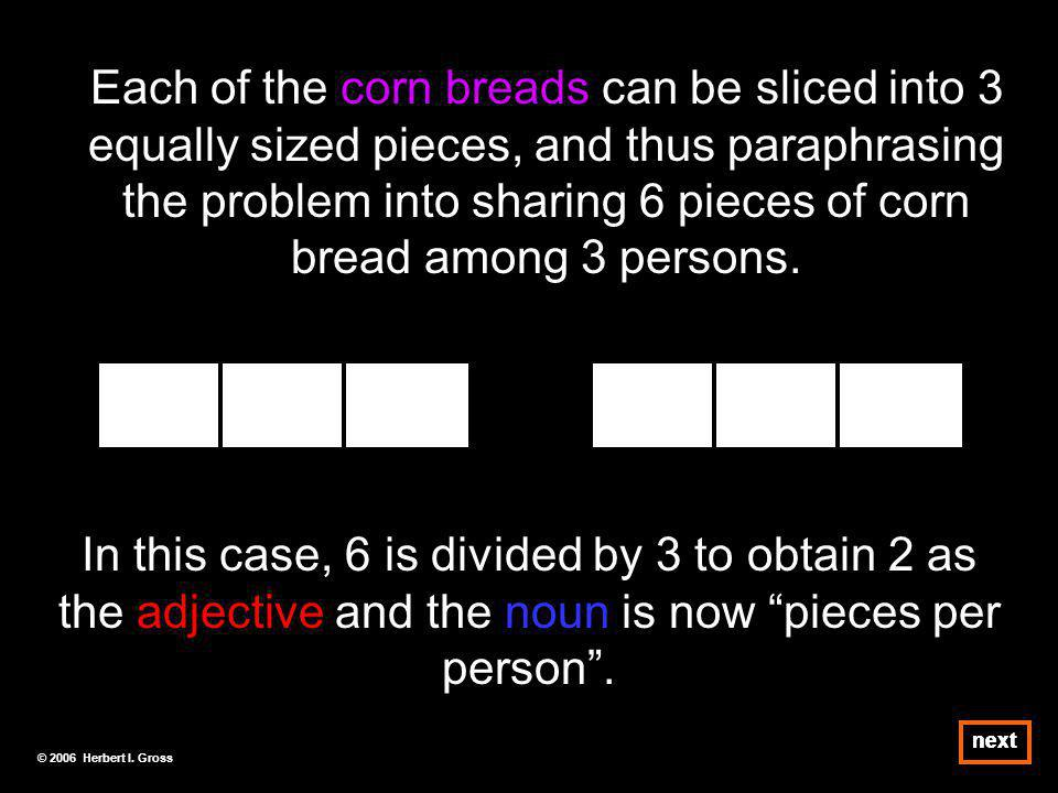 Each of the corn breads can be sliced into 3 equally sized pieces, and thus paraphrasing the problem into sharing 6 pieces of corn bread among 3 persons.