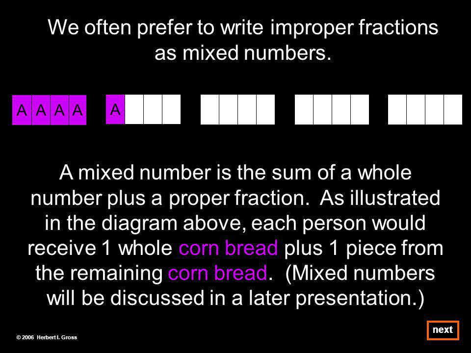 We often prefer to write improper fractions as mixed numbers.
