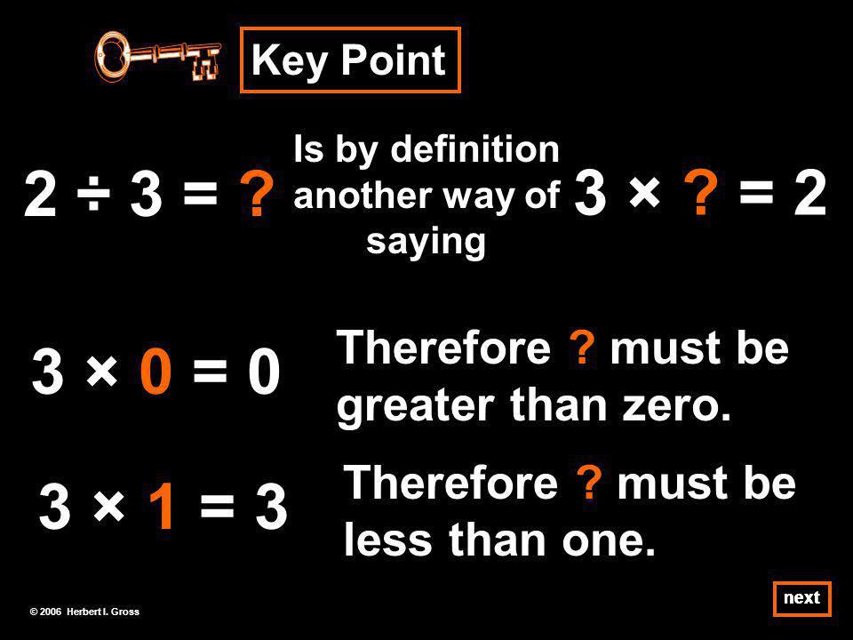 Just as 6 ÷ 3 = 2 is a relationship between 3 numbers, so also is 2 ÷ 3 = 2/3.