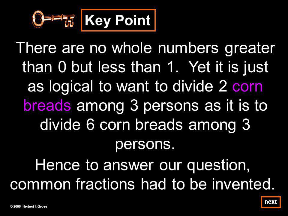 Key Point There are no whole numbers greater than 0 but less than 1.
