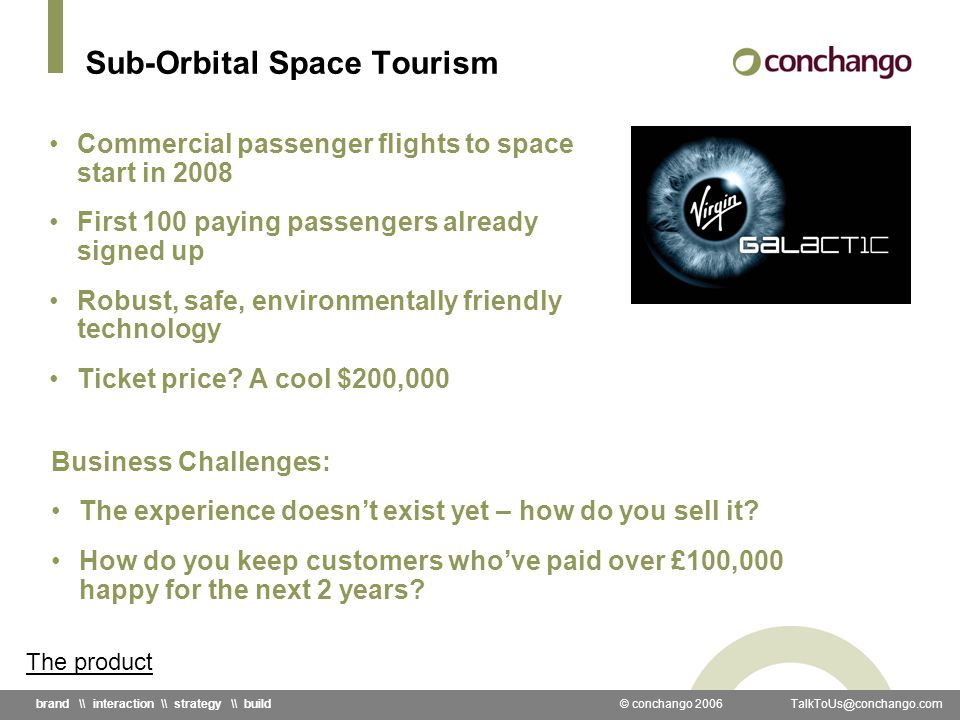 © conchango 2006 \\ interaction \\ strategy \\ build Sub-Orbital Space Tourism Commercial passenger flights to space start in 2008 First 100 paying passengers already signed up Robust, safe, environmentally friendly technology Ticket price.
