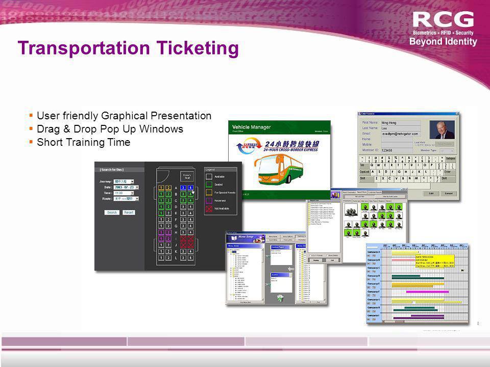 User friendly Graphical Presentation Drag & Drop Pop Up Windows Short Training Time Transportation Ticketing
