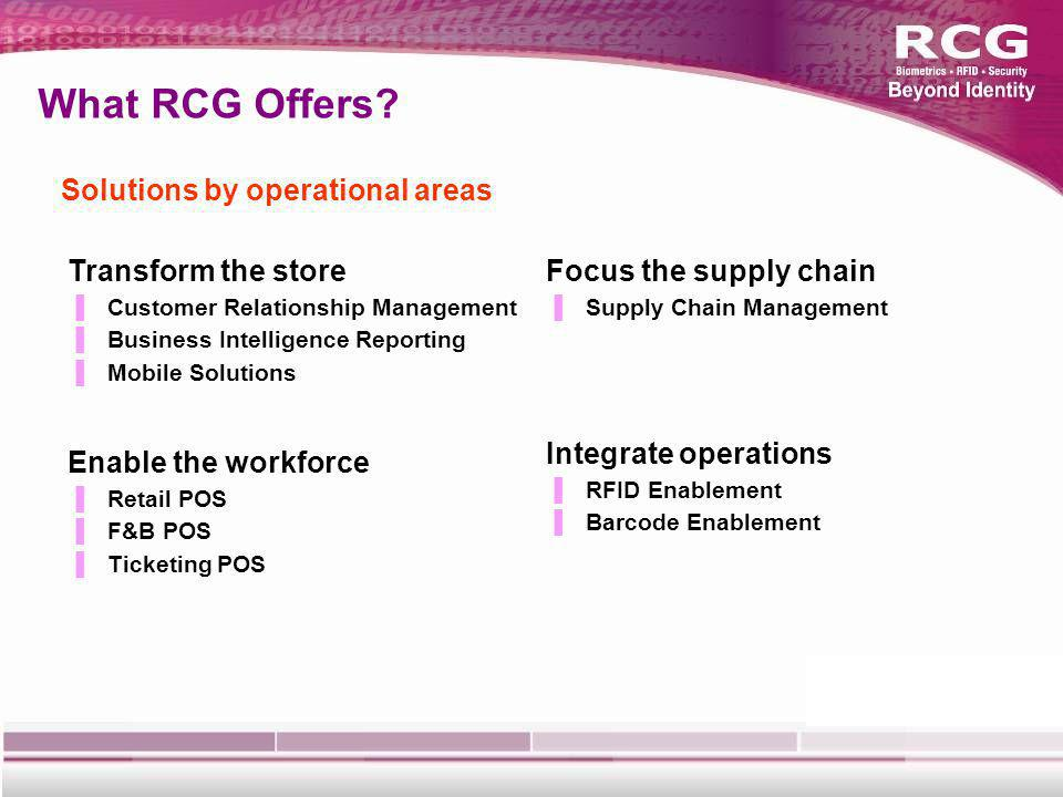 What RCG Offers.