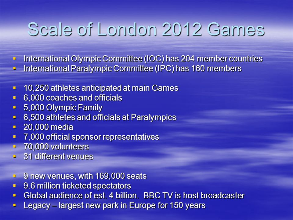 London 2012 Organisations Olympic Delivery Authority - ODA Olympic Delivery Authority - ODA the physical theatre the physical theatre London Organising Committee for the Olympic Games – LOCOG London Organising Committee for the Olympic Games – LOCOG the play or entertainment within the theatre the play or entertainment within the theatre