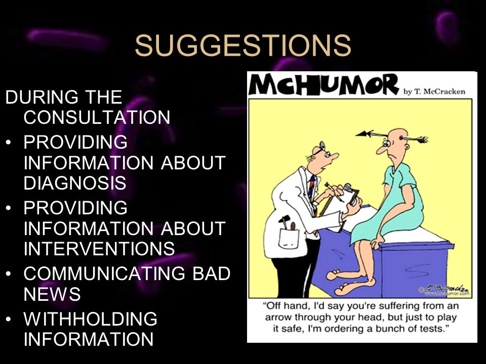 SUGGESTIONS DURING THE CONSULTATION PROVIDING INFORMATION ABOUT DIAGNOSIS PROVIDING INFORMATION ABOUT INTERVENTIONS COMMUNICATING BAD NEWS WITHHOLDING