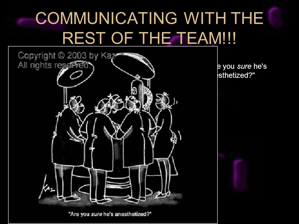 COMMUNICATING WITH THE REST OF THE TEAM!!! Are you sure he s anesthetized