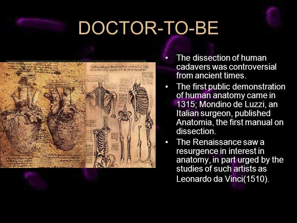 DOCTOR-TO-BE The dissection of human cadavers was controversial from ancient times. The first public demonstration of human anatomy came in 1315; Mond