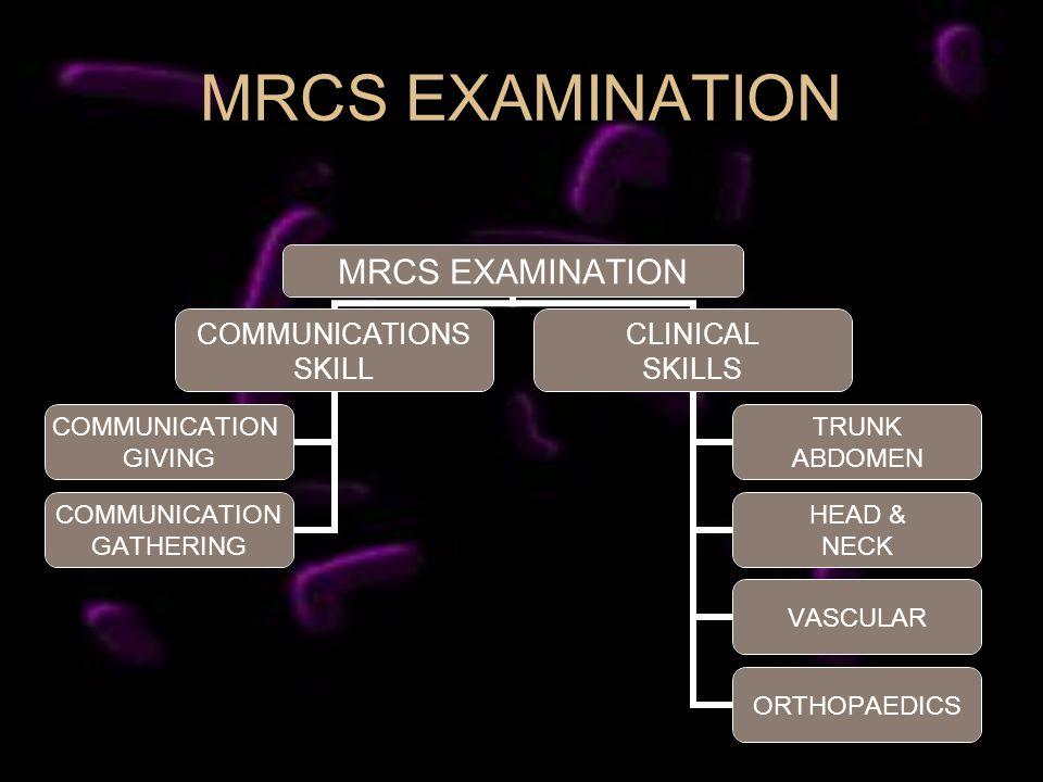 MRCS EXAMINATION COMMUNICATIONS SKILL COMMUNICATION GIVING COMMUNICATION GATHERING CLINICAL SKILLS TRUNK ABDOMEN HEAD & NECK VASCULAR ORTHOPAEDICS