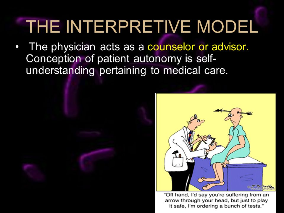 THE INTERPRETIVE MODEL The physician acts as a counselor or advisor.