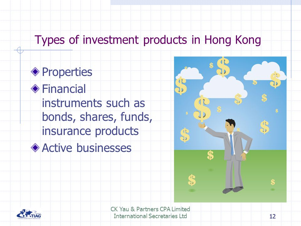 12 CK Yau & Partners CPA Limited International Secretaries Ltd12 Types of investment products in Hong Kong Properties Financial instruments such as bo