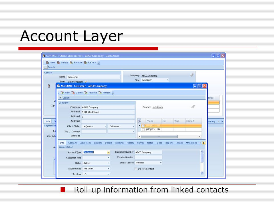 Account Layer Roll-up information from linked contacts