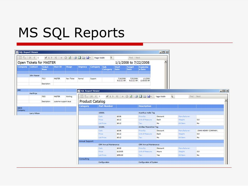 MS SQL Reports