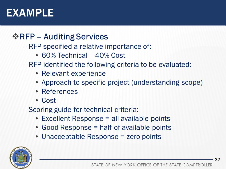 STATE OF NEW YORK OFFICE OF THE STATE COMPTROLLER 32 EXAMPLE RFP – Auditing Services –RFP specified a relative importance of: 60% Technical 40% Cost –