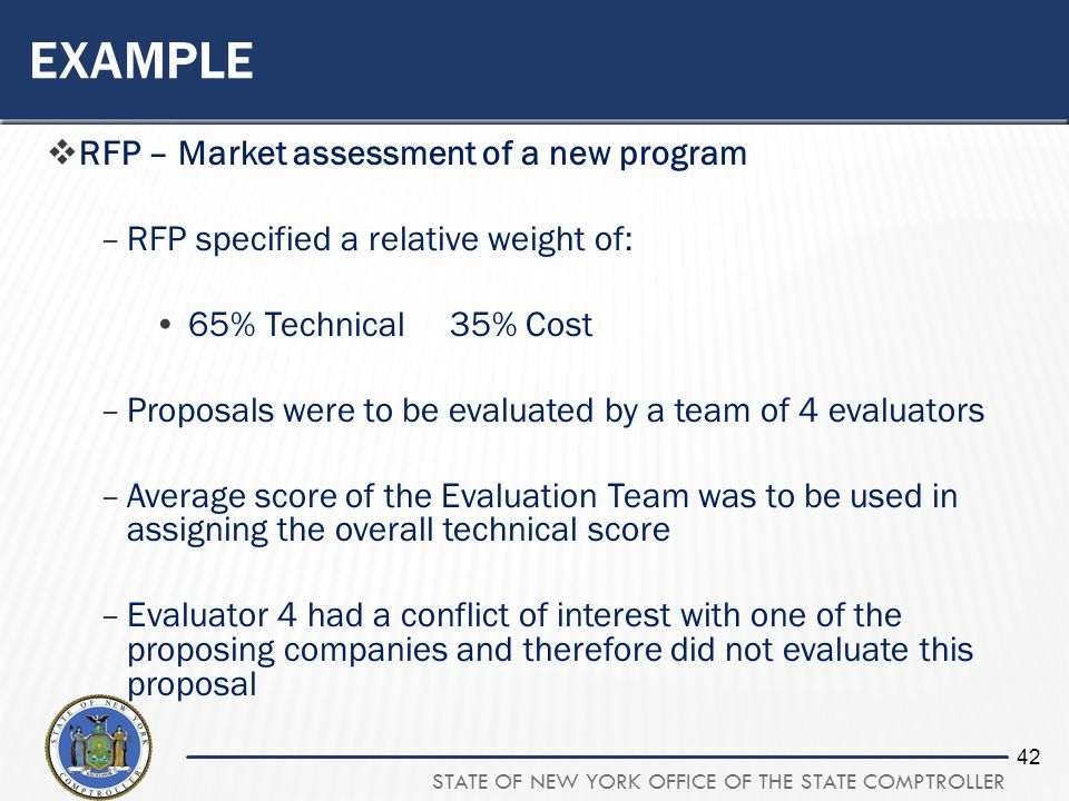 STATE OF NEW YORK OFFICE OF THE STATE COMPTROLLER 42 EXAMPLE RFP – Market assessment of a new program –RFP specified a relative weight of: 65% Technic