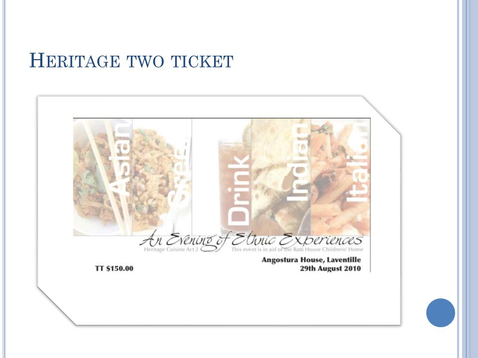 H ERITAGE TWO TICKET