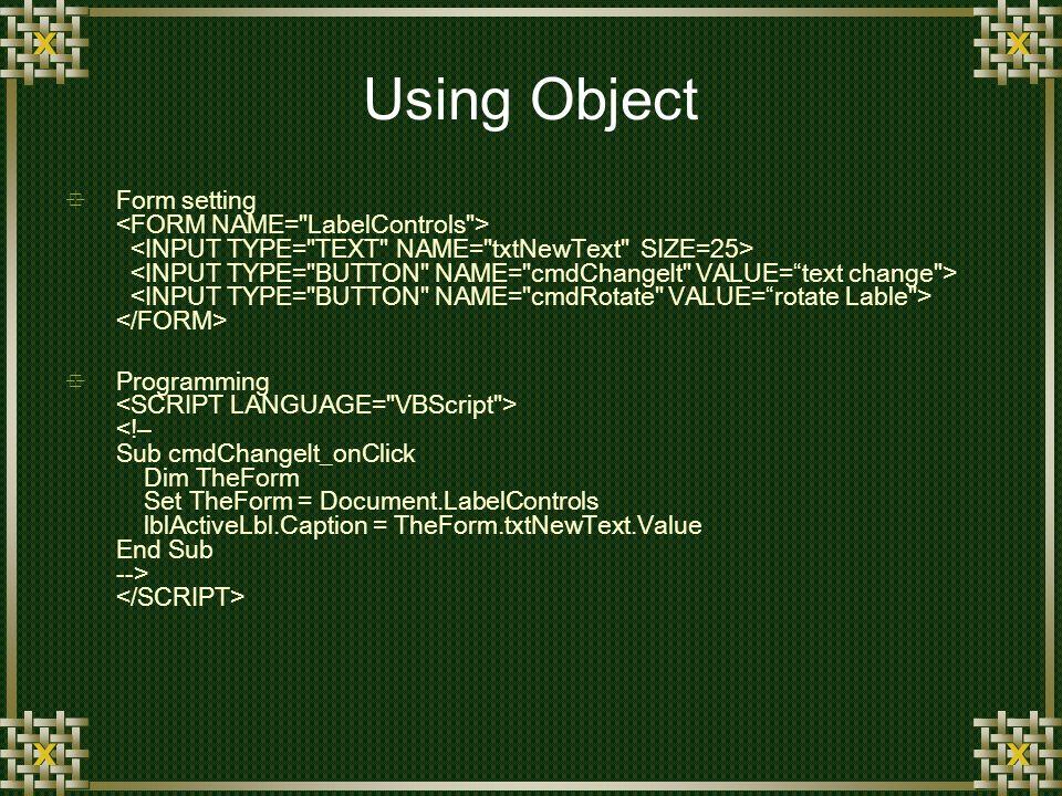 Using Object Form setting Programming