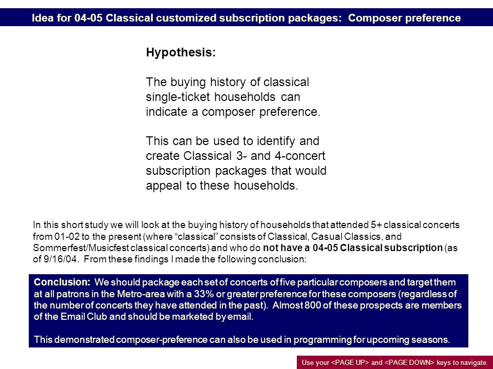 Idea for 04-05 Classical customized subscription packages: Composer preference Hypothesis: The buying history of classical single-ticket households can indicate a composer preference.