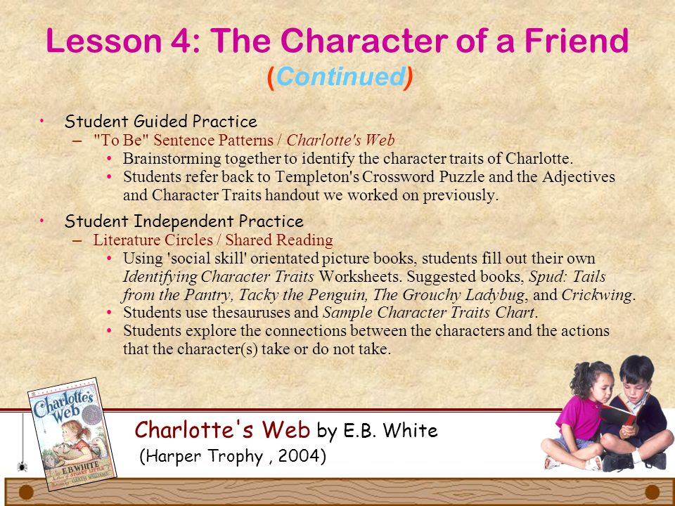 Lesson 4: The Character of a Friend (Continued) Charlotte's Web by E.B. White (Harper Trophy, 2004) Student Guided Practice –