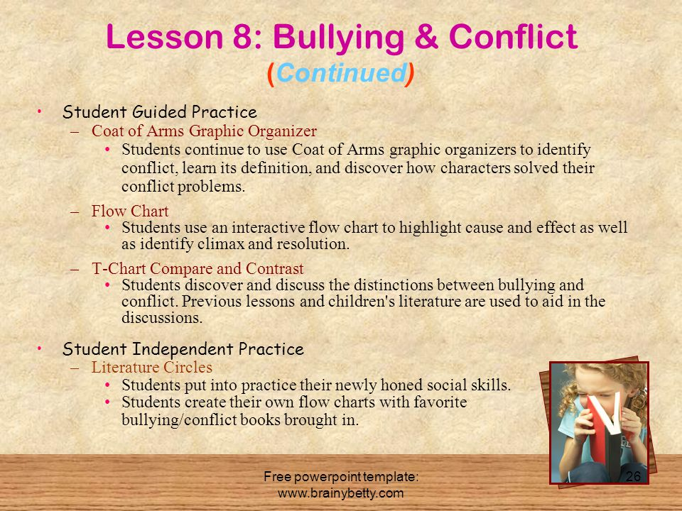 Free powerpoint template: www.brainybetty.com 26 Lesson 8: Bullying & Conflict (Continued) Student Guided Practice –Coat of Arms Graphic Organizer Stu