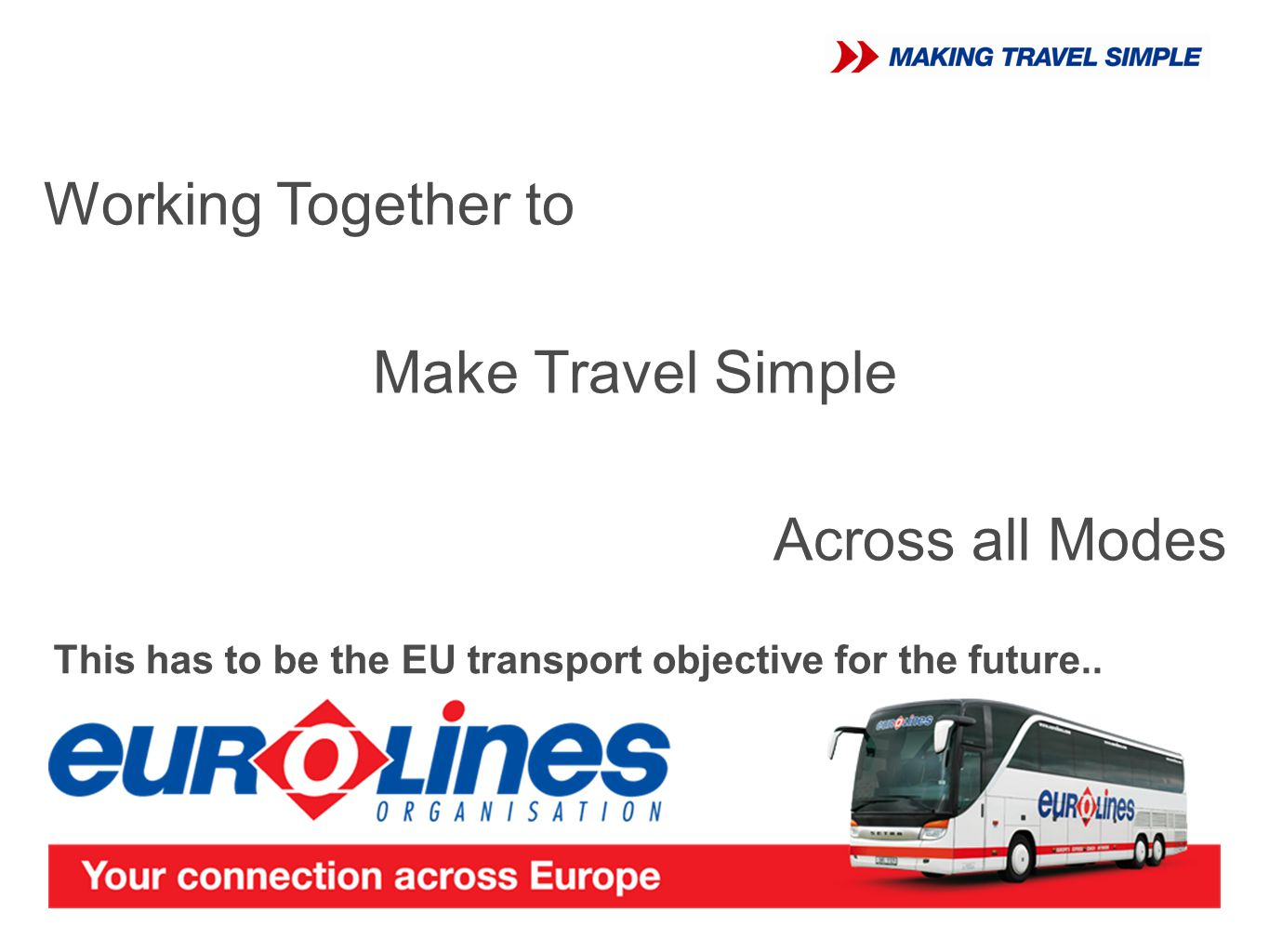 Working Together to Make Travel Simple Across all Modes This has to be the EU transport objective for the future..