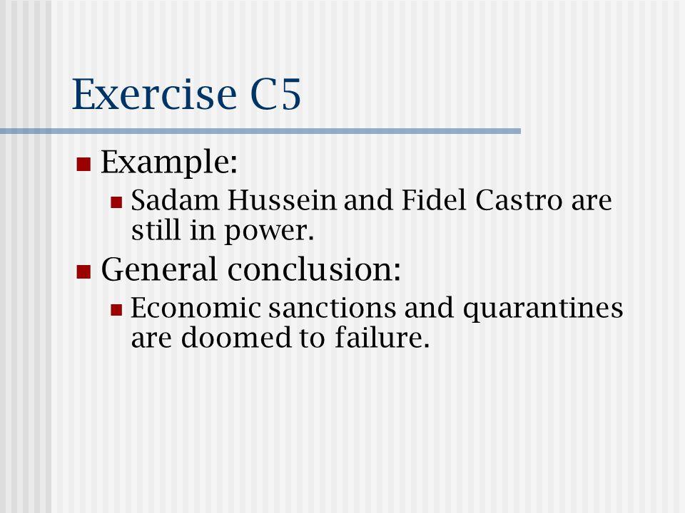Exercise C5 Example: Sadam Hussein and Fidel Castro are still in power.