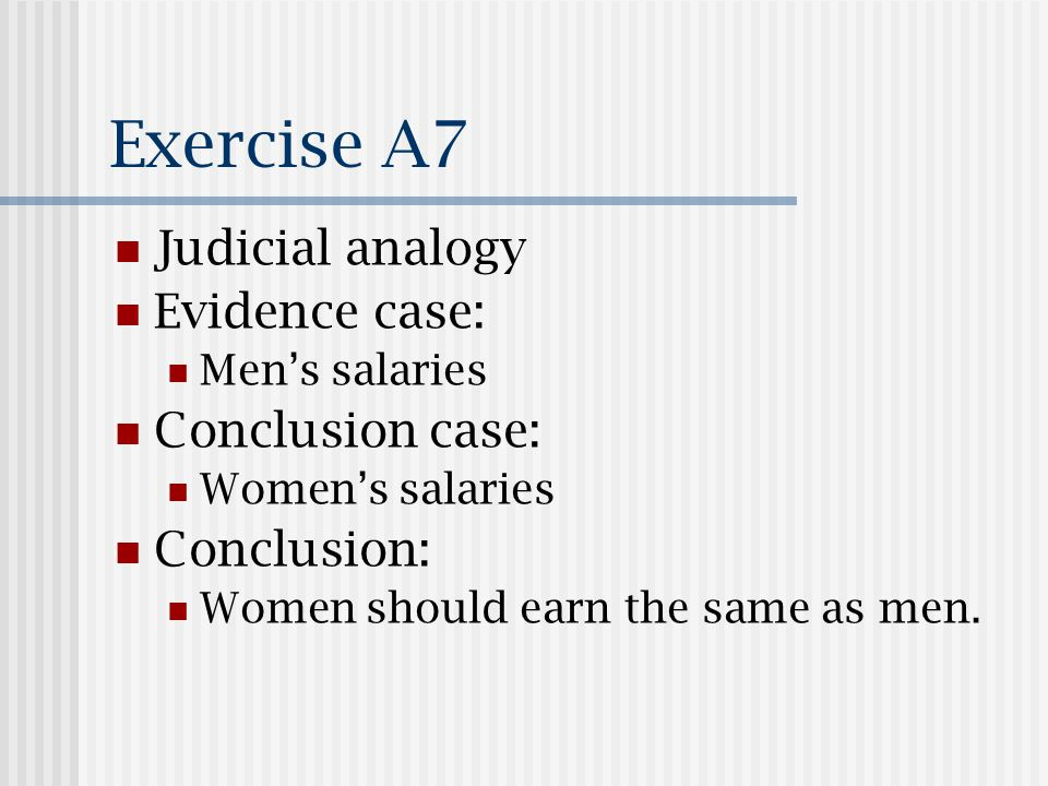 Exercise A7 Judicial analogy Evidence case: Mens salaries Conclusion case: Womens salaries Conclusion: Women should earn the same as men.