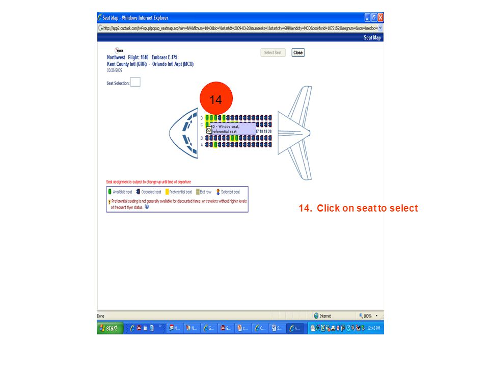 14. Click on seat to select 1 14