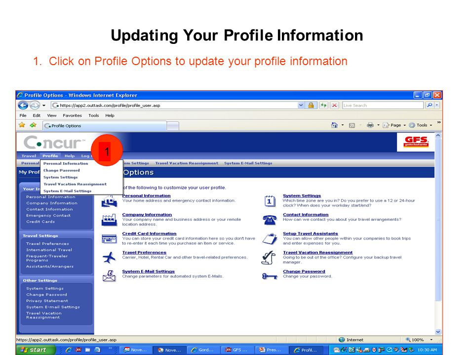 Updating Your Profile Information 1.