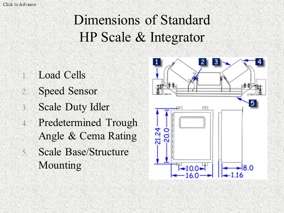 Dimensions of Standard HP Scale & Integrator Click to Advance 1.