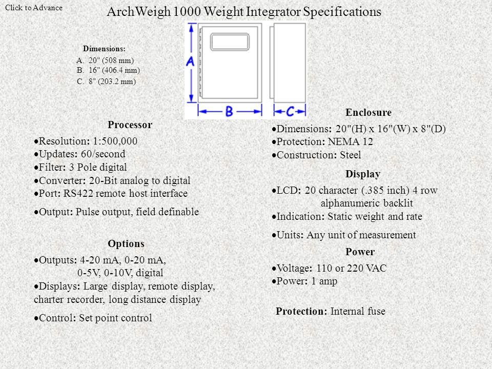 Click to Advance ArchWeigh 1000 Weight Integrator Specifications Dimensions: A.