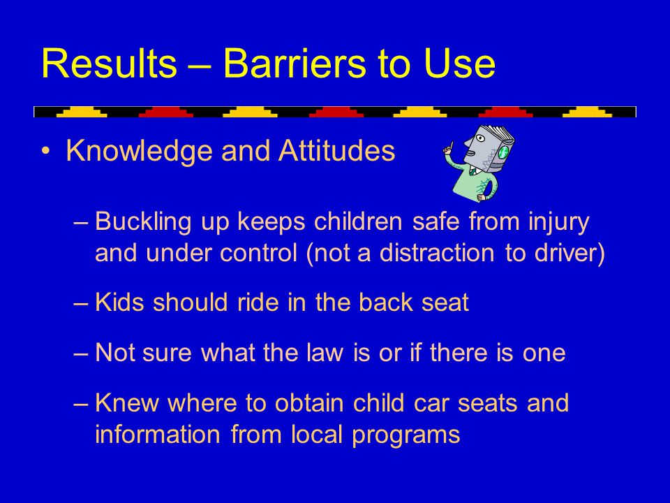 Results – Barriers to Use Knowledge and Attitudes –Buckling up keeps children safe from injury and under control (not a distraction to driver) –Kids s