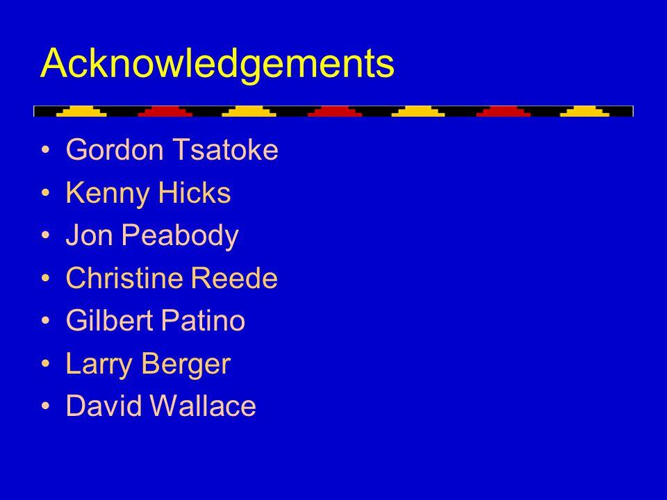 Acknowledgements Gordon Tsatoke Kenny Hicks Jon Peabody Christine Reede Gilbert Patino Larry Berger David Wallace