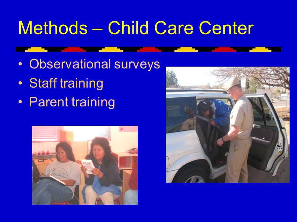 Methods – Child Care Center Observational surveys Staff training Parent training