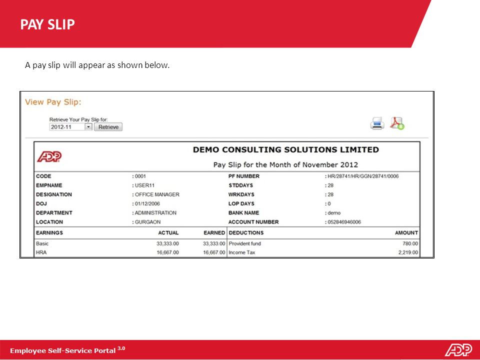 TAX SLIP To view your tax slip for a particular month: 1.On the report tab, click Tax Slip.