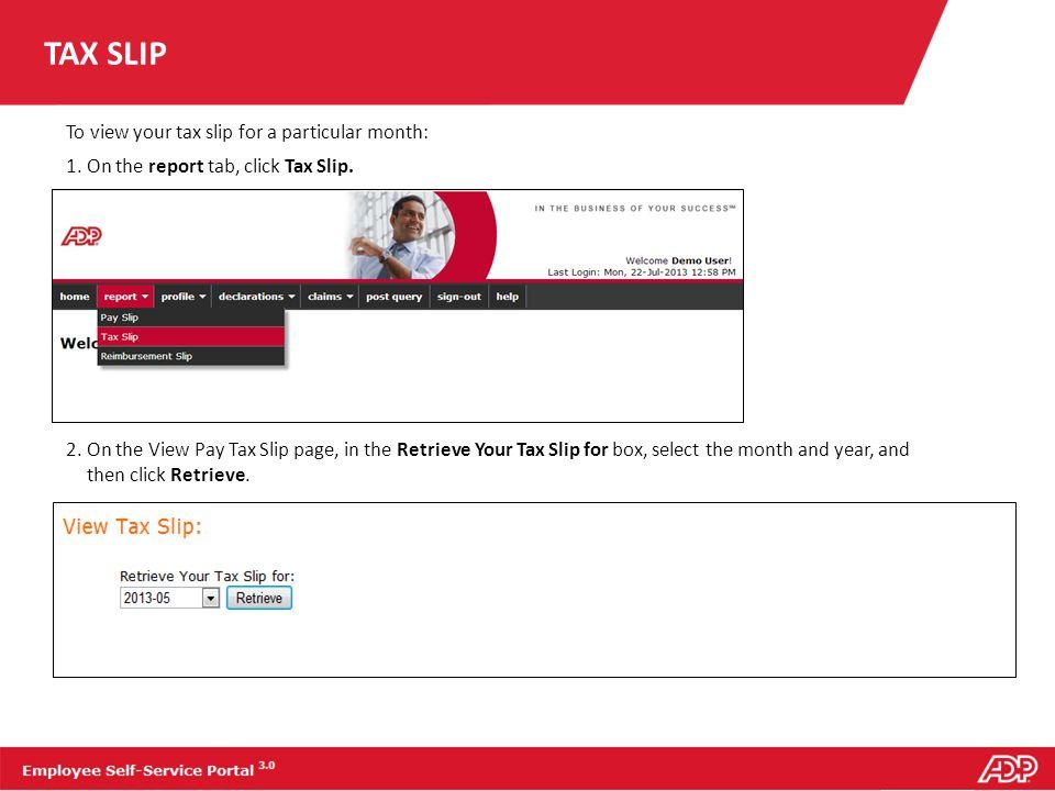 TAX SLIP A tax slip will appear as shown below.