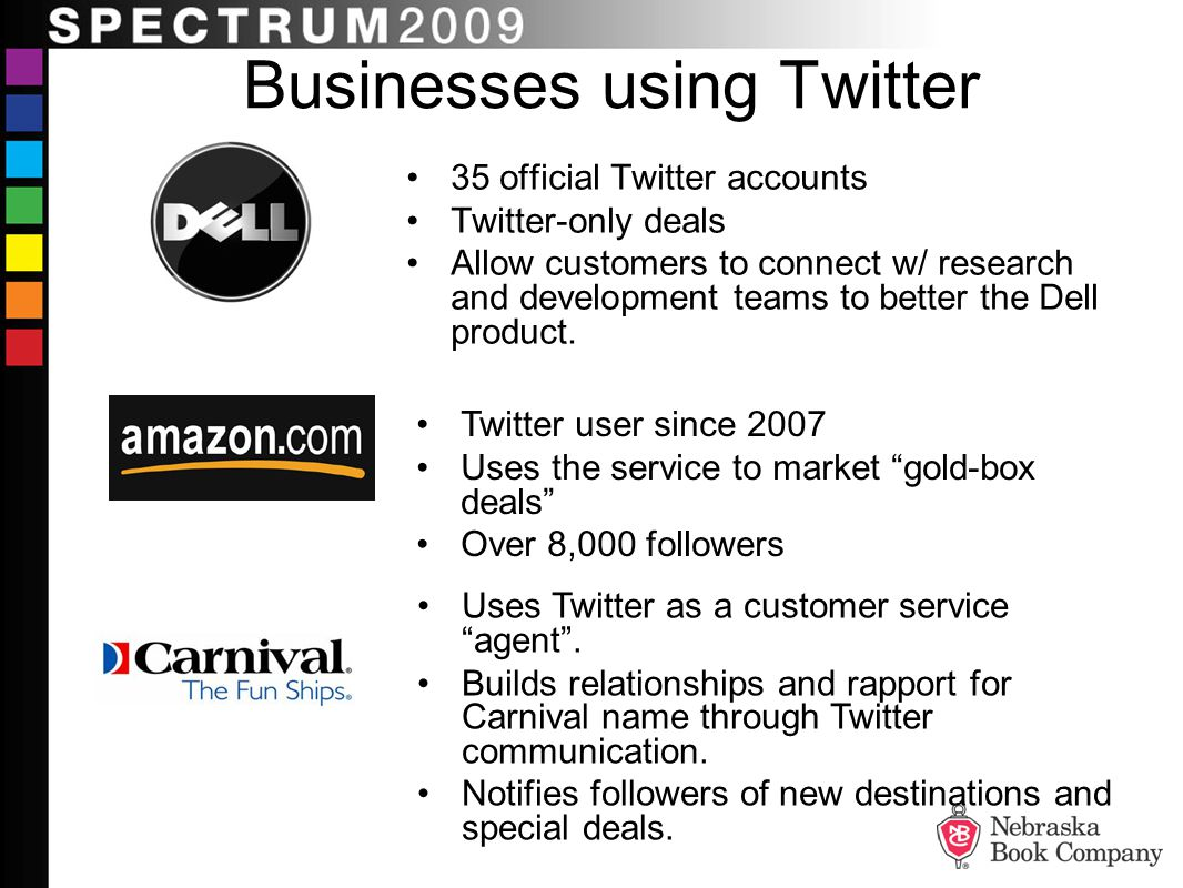 Businesses using Twitter 35 official Twitter accounts Twitter-only deals Allow customers to connect w/ research and development teams to better the Dell product.