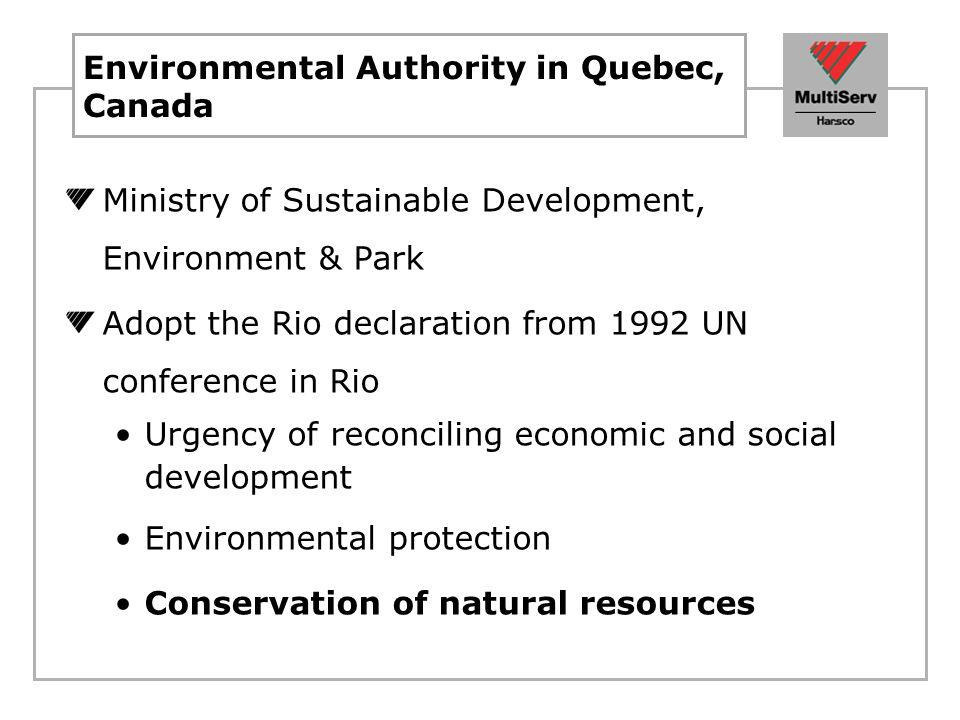 Residual material in Quebec Non-hazardous material generated in Quebec = 20 Tonnes per minutes.