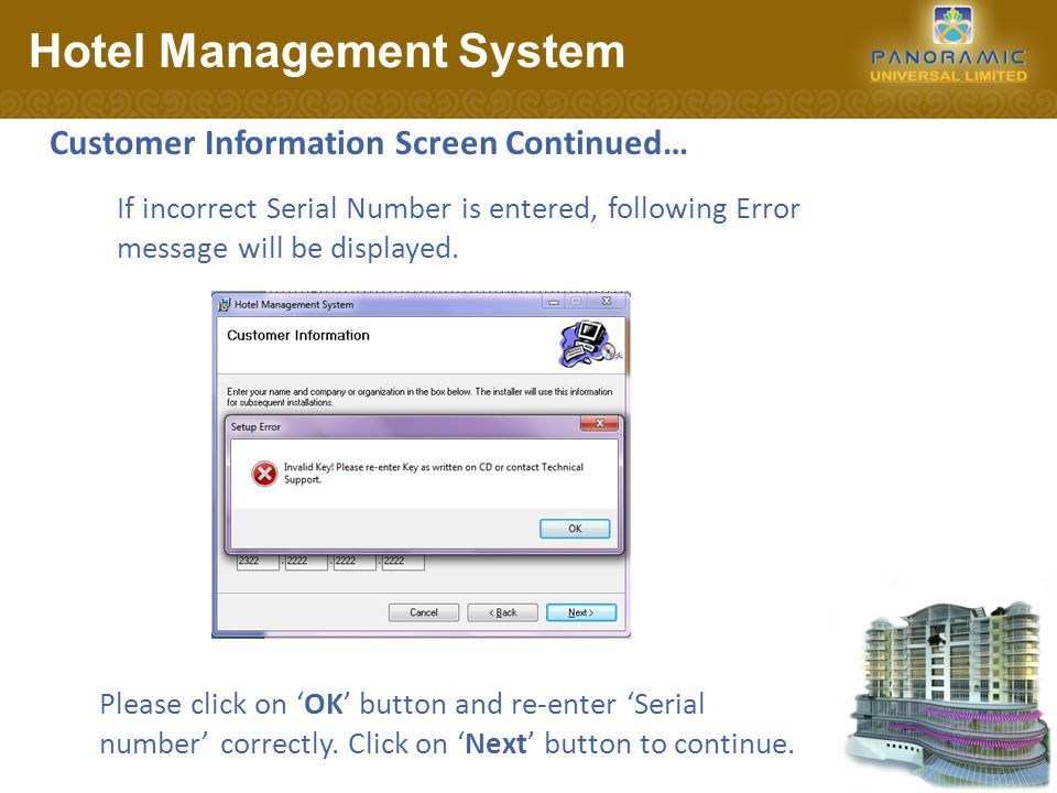 Select Installation Address Screen: Hotel Management System Please click on Next button to continue.
