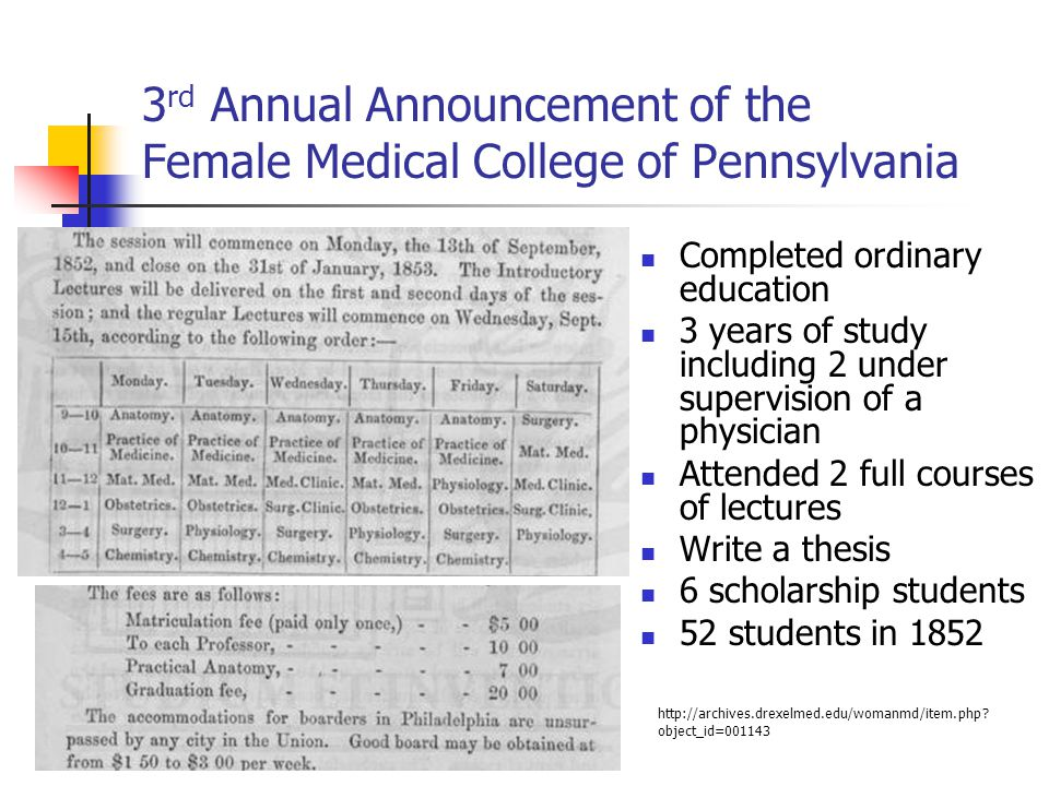 3 rd Annual Announcement of the Female Medical College of Pennsylvania Completed ordinary education 3 years of study including 2 under supervision of