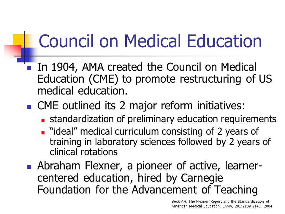 Council on Medical Education In 1904, AMA created the Council on Medical Education (CME) to promote restructuring of US medical education.